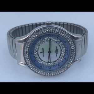 Peugeot women watch silver tone jeweled along crys